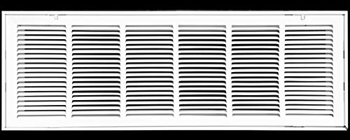 36' X 10 Steel Return Air Filter Grille for 1' Filter - Fixed Hinged - Ceiling Recommended - HVAC Duct Cover - Flat Stamped Face - White [Outer Dimensions: 38.5 X 11.75]