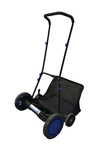 "AAVIX Push Reel Lawn Mower with Grass Catcher, 20"", Black/Blue"