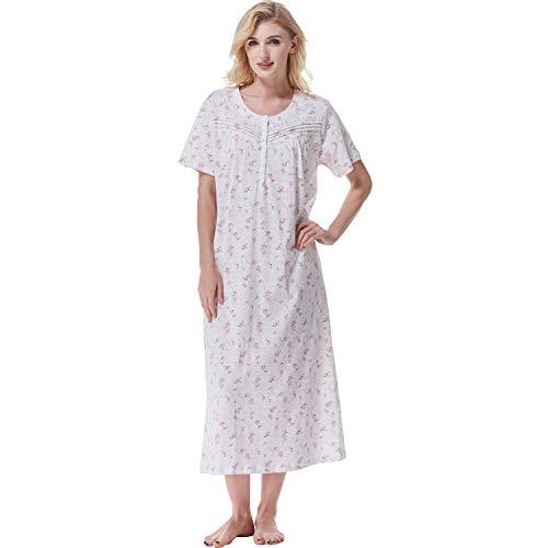 Keyocean Nightgown for Women, Soft 100% Cotton Short Sleeve Lightweight Ladies Nightgown, Pink Floral, Medium