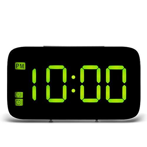 FPRW LED-wekker, digitaal LED-display, stembediening, elektrische klok, snooze nachtbacklight desktophorloges, USB-belasting, bedlampje, groen