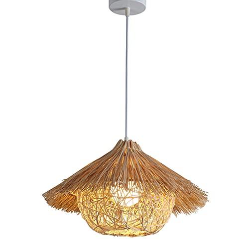 Tanktoyd Candelabro de jaula de pájaros de ratán de estilo japonés creativo Candelabro de nido de pájaro personalizado tejido a mano creativo Candelabro de bambú y ratán retro Araña de bar de hotel d