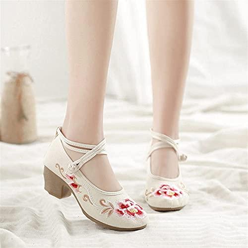 Zapatos Bordados para Mujer Correa de Tobillo Mujer Lona 4cm Zapatos de tacón en Bloque Vintage Ladies Comfort Algodón Bordado Bombas Calzado de Disfraz yangain (Color: Blanco, Talla: 5)