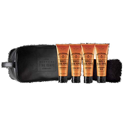 Scottish Fine Soaps Company - Men's Grooming Travel Wash Bag - Thistle and Black Pepper