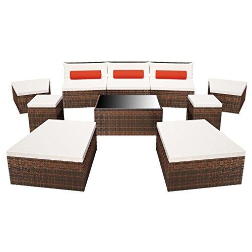 Festnight Gartensofa Polyrattan Lounge Set Loungemöbel Loungeset 25-TLG. Modular Polyrattan Braun