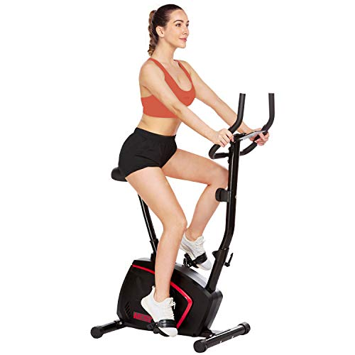 ANCHEER Magnetic Upright Exercise Bike with 10-level Resistance, Quiet & Comfortable, Stationary Indoor Cycling Bike for Home Cardio Workout with Adjustable Seat, Monitor, Wheels