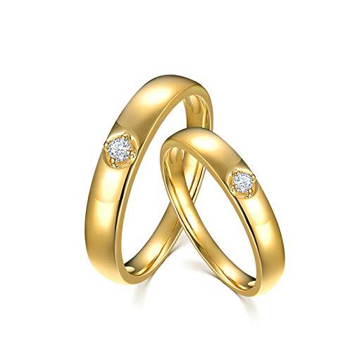 Bishilin Anillo de Compromiso de 2 Piezas para Ella 18K Oro Mujer Talla 25 & Hombre Talla 17 Redondo Anillos de Pareja Blanco Redonda Diamante Anillos de Bandas de Boda para Socios Oro