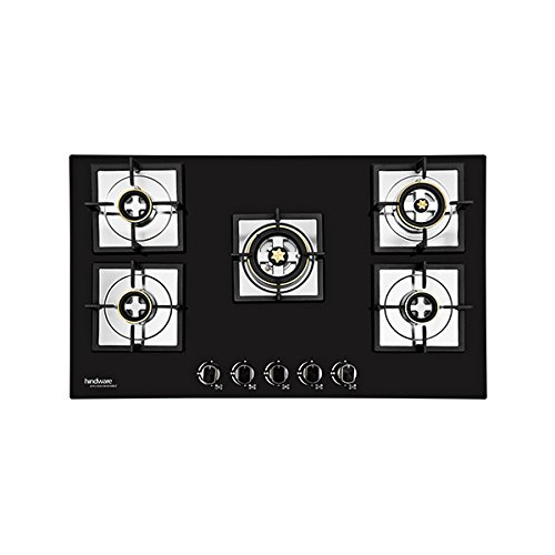 Hindware Diva Plus Stainless Steel 5 Burner Gas Stove, Black
