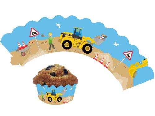 12 Baustelle - Cupcake Deko Banderolen von DH-Konzept // Muffinförmchen Muffin Förmchen Kindergeburtstag Geburtstag Party Kuchen Baumeister Bauarbeiter Bob