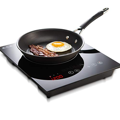 Baulia SB816 Induction Cooker Single Touch – 1800-Watt Countertop Burner for Fast Cooking, Precise Digital Temperature Control + 4 Hour Timer, 1800 Watt, Black