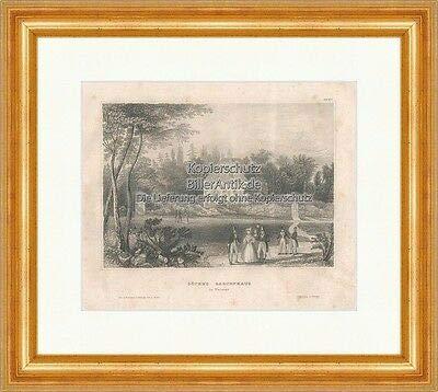 Kunstdruck Goethes Gartenhaus in Weimar Stahlstich Garten Ilm Meyers Universum 0252 Gerahmt