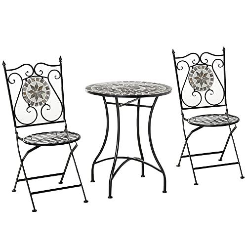 Outsunny Garten Sitzgruppe 3-teilige Mosaiktisch Essgruppe Gartenmöbel-Set 1 Tisch+2 Faltbare Stühle Garten Metall Keramikfliese Mehrfarbing