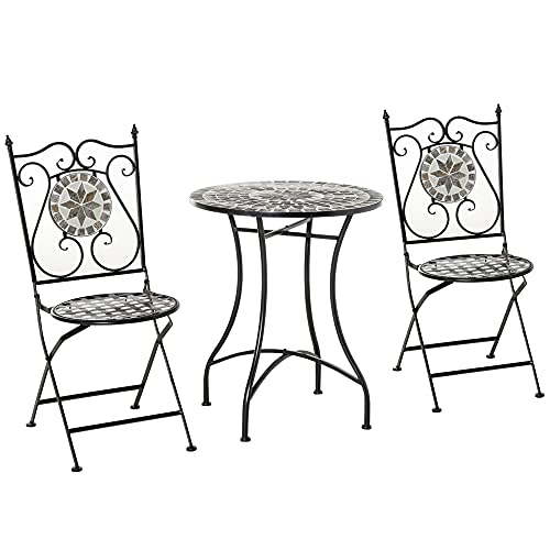 Outsunny 3 Pcs Mosaic Tile Garden Bistro Set Outdoor Seating w/Table 2 Folding Chairs Set Metal Frame Elegant Scrolling Indoor Patio Balcony
