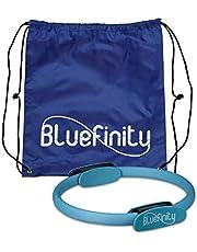 Bluefinity pierścień pilatesu, podwójne uchwyty, wyściełany, D: 39 cm, włókno szklane, pianka, koło fitness do jogi, pierścień oporowy, turkusowy