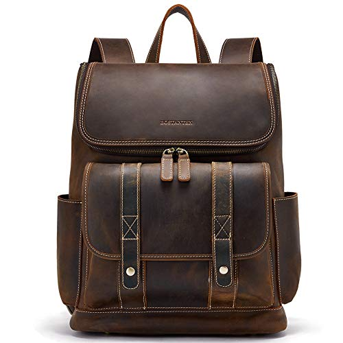 BOSTANTEN Leather Backpack 15.6 inch Laptop Backpack Vintage Travel Office Bag Large Capacity College Shoulder Bag