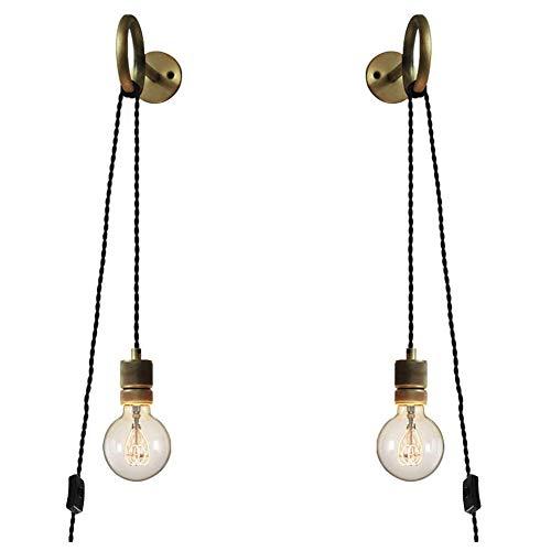 Anclk Apliques De Pared Con Interruptor Lámpara De Espejo Lámpara De Pared Antigua Con Enchufe De Cable Industrial Vintage Creativa Luz Decorativa Lámpara De Salón Dormitorio Cama Lámpara E27 VOMI