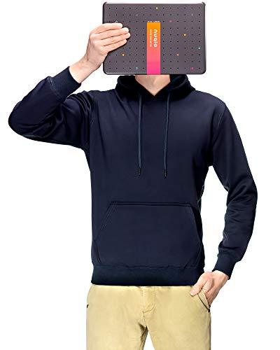 Nuqlo Felpa Cappuccio Uomo | Cotone Premium | Tessuto Interno in Fleece Light™ | Cuciture Nastrate | Maniche Lunghe | Polsini a Coste
