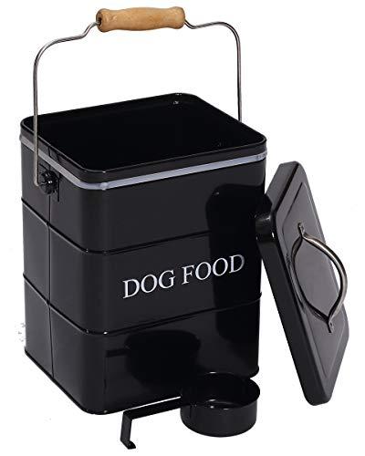 Bote de almacenamiento de alimentos para perros con tapa y cuchara incluida, polvo blanco - acero al carbono - cubo de comida para mascotas - latas de almacenamiento - DogFood - negro