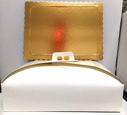Dolce Idea Kit 1 Piatto sottotorta Dorato in Cartone con Bordo Ondulato + relativa Scatola Cartone PortaTorta. (40x50)