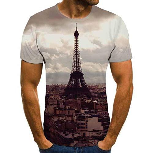 3D t Shirt Iron Tower T-Shirt Herren 3DT Shirt in der Altstadt Kurzarm Rundhals Digitaldruck Lässig Kurzarm-Color_XXS