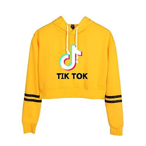 DXJJ TIK Tok Sweatshirt 3D Pullover Woman Fashion Short Top Long Sleeve Casual Short Sweatshirts Print Hoodie Winter Casual Sports Jogging Sweatshirt,Yellow,M