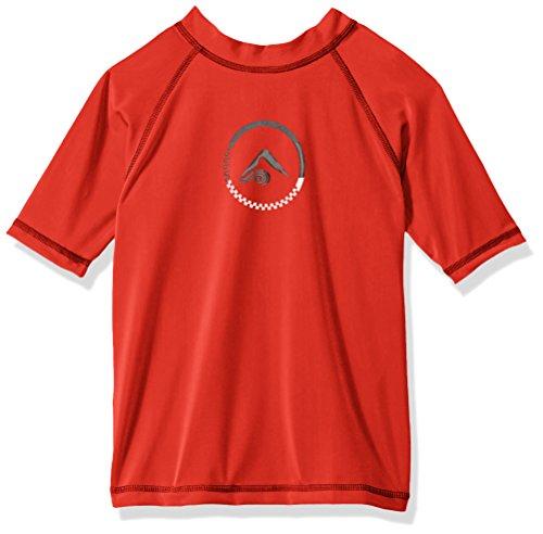 Kanu Surf Boys' Big UPF 50+ Sun Protective Rashguard Swim Shirt, Haywire Red, Small (8)