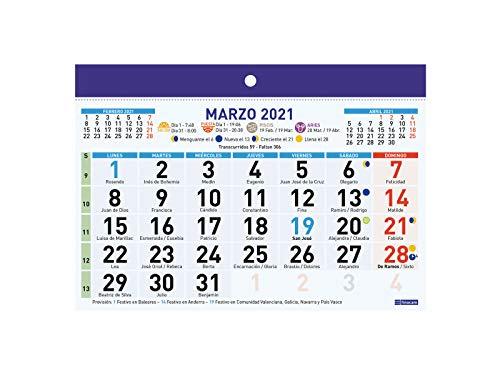 Finocam - Calendario/Faldilla 2021 Números grandes F91 Español