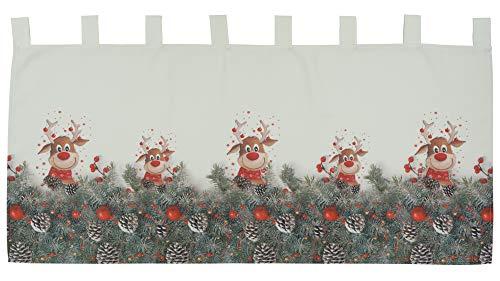 Scheibengardine Weihnachtsgardine Panneau Weihnachten Bistrogardine Gardine Elch rote Nase 100% Polyester Blickdicht (60 x 120 cm)