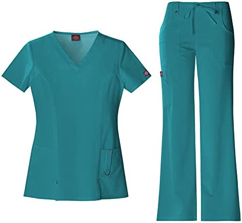 Dickies Xtreme Stretch Women s V Neck Scrub Top 82851 The Extreme Stretch Drawstring Scrub Pants product image