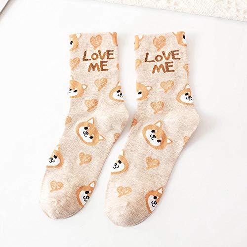 POYANG 3 Paar süße und süße kleine Tong Katze Tier Rohr Socken Cartoon College-Stil Mädchen Socken-Shiba Inu Khaki