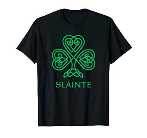 Slainte Irish Green Shamrock Celtic Knot Ireland Gaelic T-Shirt