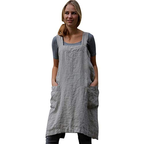 MRULIC Frauen Baumwolle Leinen Pinafore Square Cross Schürze Kleid A-line Gartenarbeit Pinafore Kleid(Grau,EU-36/CN-L)