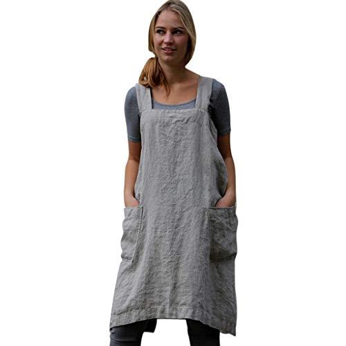 IZHH Damen Frauen Kleider Baumwolle Leinen Pinafore Square Cross Schürze Gartentasche Arbeit Pinafore Kleid Einfarbig Arbeitskleidung Kleid(Grau,Large)