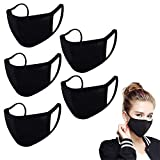 5PCS Made in the USA - 100% Cotton Reusable Washable | Face_Masks Mouth Face Protective Bandana Balaclavas Dust_Mask for Unisex Adult (Black, 5 Pieces)