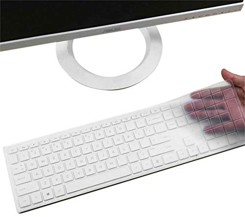 """Silicone Keyboard Cover Skin for HP Pavilion 27 Inch All in One PC Xa0055Ng/Xa0050/0370Nd/0010Na/0076Hk, HP Pavilion 24"""" Xa0002A/0300Nd/0051Hk/xa0032, HP Pavilion 23.8"""" 22"""" Keyboard Protector(Clear)"""