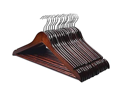 HOUSE DAY Premium Wooden Hangers for Coats Wooden Clothes Hangers 20 Pack Wooden Hangers Bulk Wooden Coat Hanger Brown Premium Hangers Wooden for Clothes Pants Skirt