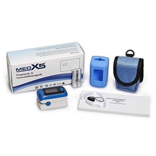 MedX5 Oxímetro de Pulso, Pulsómetro con Accesorios EXTRA, Pulsioximetro, Medidor de pulso, certificado en Alemania