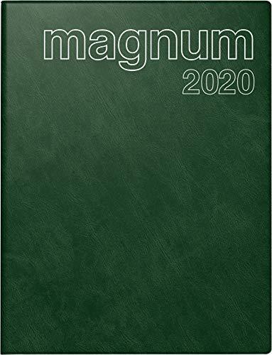 rido/idé 702704258 Buchkalender magnum (2 Seiten = 1 Woche, 183 x 240 mm, Schaumfolien-Einband Catana, Kalendarium 2020) dunkelgrün