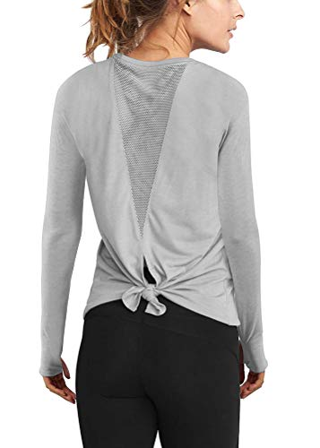 Mippo Fall Fashion for Women 2019 Long Sleeve Workout Shirts Open Back Yoga Clothes Activewear Mesh Tie Back Sports Athletic Thumbhole Shirts Cute Comfort Fitness Active Tank Tops Gray M
