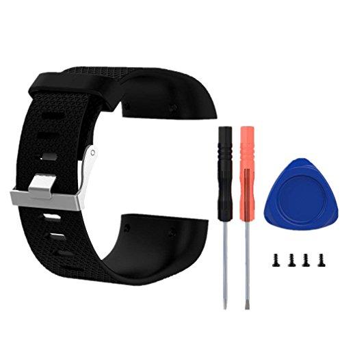 Replacement Pulsera para Fitbit Surge, Meiruo Correas para Fitbit Surge Smartwatch (L, Negro)