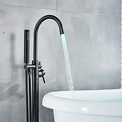 Votamuta Floor Mounted LED Light Swivel Spout Bathtub Shower Faucet Set Single Handle Free Standing Tub Filler Shower Mixer Tap with Hand Sprayer ORB