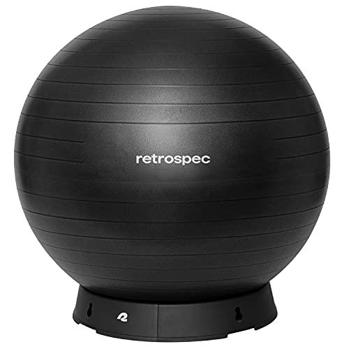Retrospec Luna Exercise Ball, Base & Pump/Ball & Pump with Anti-Burst Material - Fitness Gym Swiss Ball - Perfect for Balance, Stability, Yoga, Pilates, Pregnancy & Birthing - 55cm - Black