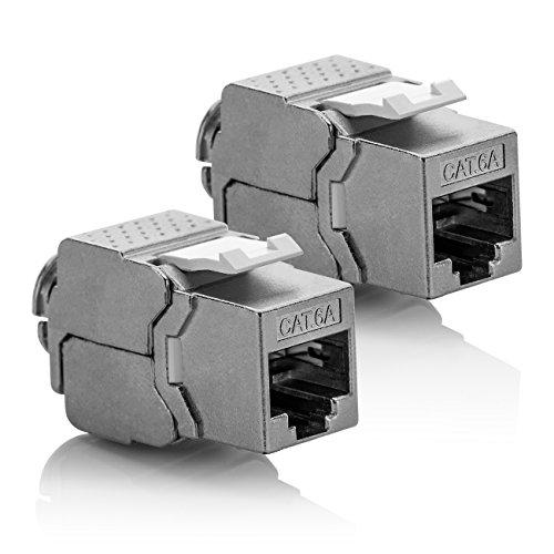 deleyCON 2X Keystone Modul CAT 6a Jack - Vollgeschirmt STP RJ45 Buchse Werkzeugfrei Dank Snap-In Montage CAT Rohkabel 500Mhz 10GBit/s