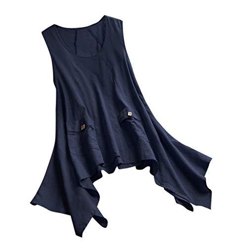 Ausverkauf 2019 Neu Damen Vintage Revers Tasche Tank Top,Frauen Plus Size Ärmellos Unregelmäßigkeit Top Shirt Bluse Weste Cami Camisole Tunika