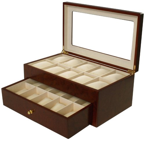 Watch Box for 20 Watches Cherry Matte Finish XL Extra Large Compartments Soft Cushions Clearance Window: Watches