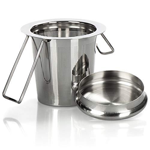 com-four® Teesieb aus Edelstahl mit Deckel - Teefilter mit Abtropfschale - feinmaschiges Tee-Sieb für losen Tee und Gewürze (1 Stück)