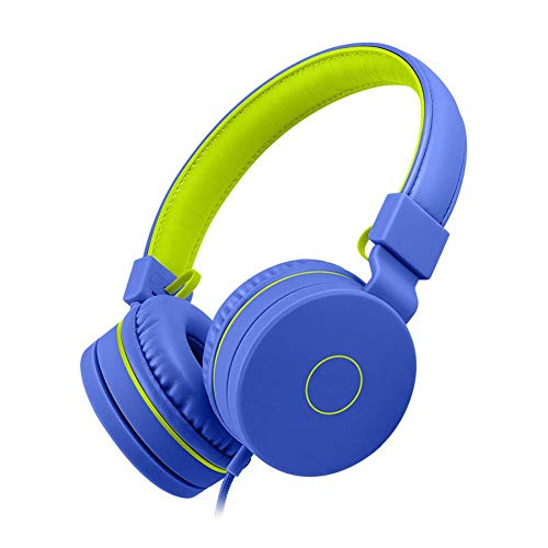 YAJIWU Headphones, Over Ear Stereo Wireless Headset, Playtime With Deep Bass, Soft Memory-protein Earmuffs, Built-in Mic Wired Mode PC/Cell Phones/TV (Color : Blue)