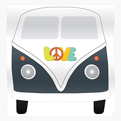 POUSADA Rockin Van Rocking Love Blue Retro Sign Peace Impressive posters for room decoration printed with the latest modern technology on semi-glossy paper background