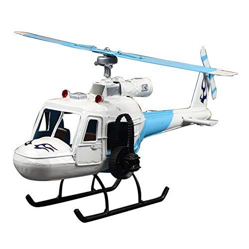 Artesanías De Hierro Simulación Modelo De Helicóptero Decoración Armario De Tv Decoración De Dormitorio De Niño blanco azul