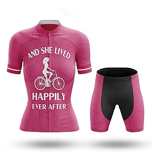 JQKA Conjunto de Jersey de Ciclismo para Mujer, Verano y niña, Manga Corta, Ciclismo y Ciclismo(Size:Extragrande,Color:Rosa)