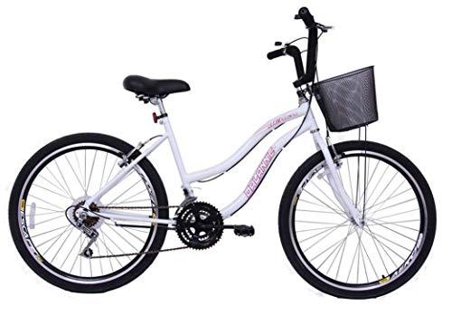 Bicicleta Aro 26 Feminina Beach 18 Marchas Branca